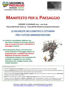 il Manifesto dell'assemblea tenutasi presso La Casa dell'Architettura lo scorso 18 gennaio