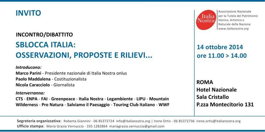 Invito all'incontro dibattito del 14 ottobre contro lo Sblocca-Italia