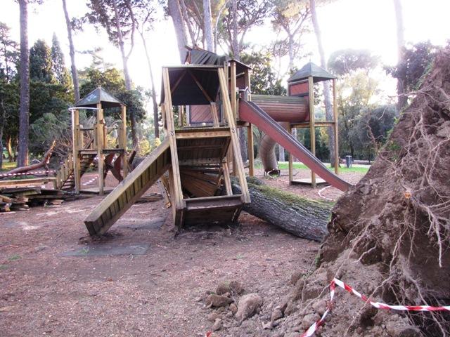 Area giochi di Villa Ada distrutta dal crollo di un pino a Villa Ada