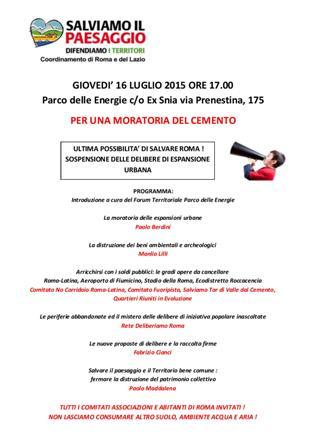 Roma non vuole morire di cemento, il convegno del 16 luglio