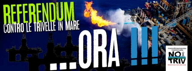 "L'appello #NoTriv alle Regioni: ""Un Referendum per i mari italiani"" (Foto pagina Facebook No Triv )"