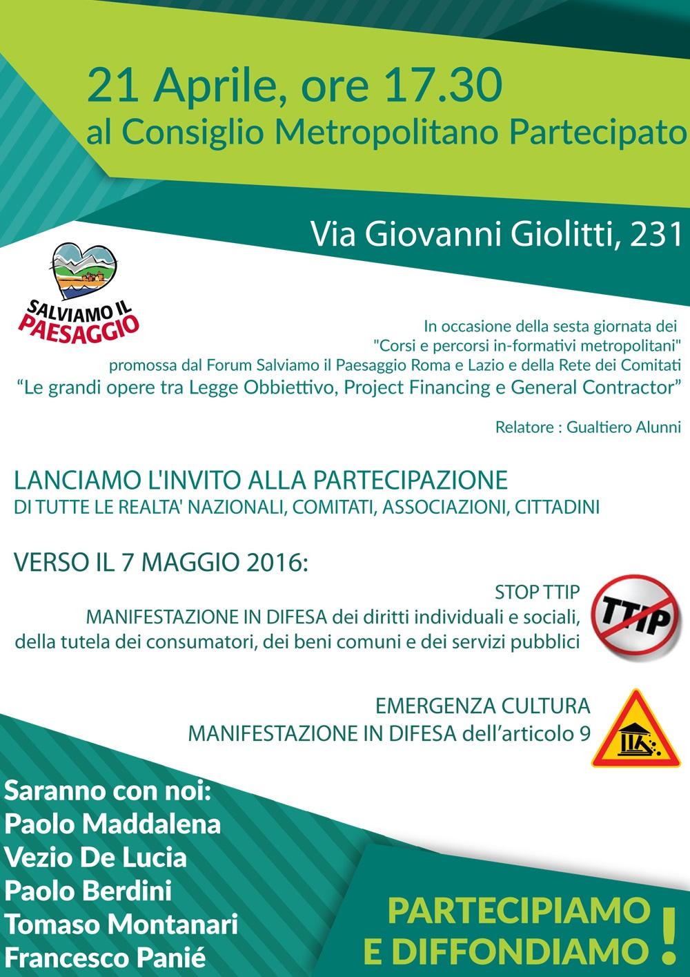 Verso il 7 maggio 2016, Emergenza cultura e stop TTIP