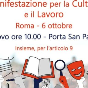 Lavoro e dignità, la cultura in piazza il 6 ottobre