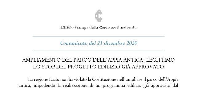 """Ampliamento parco Appia Antica, la Consulta: """"Legittimo stop a progetto edilizio già approvato a Marino"""""""